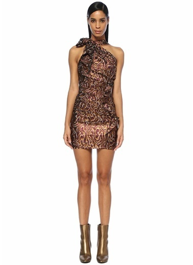 Etoile Isabel Marant Isabel Marant Synee  Renk Tek Omuzlu Drapeli Mini Elbise 101313343 Renkli